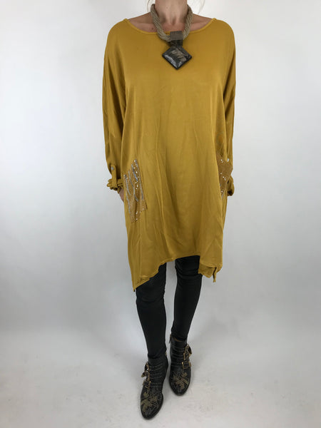 Lagenlook Made In Italy Lucy Top in Mustard. code 7288