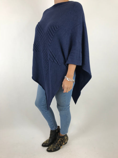 Lagenlook Made In Italy Star Poncho in Navy. code 5405