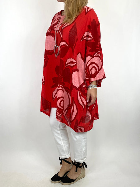 Lagenlook Helena Magnified Flower Top in Red. code 91006
