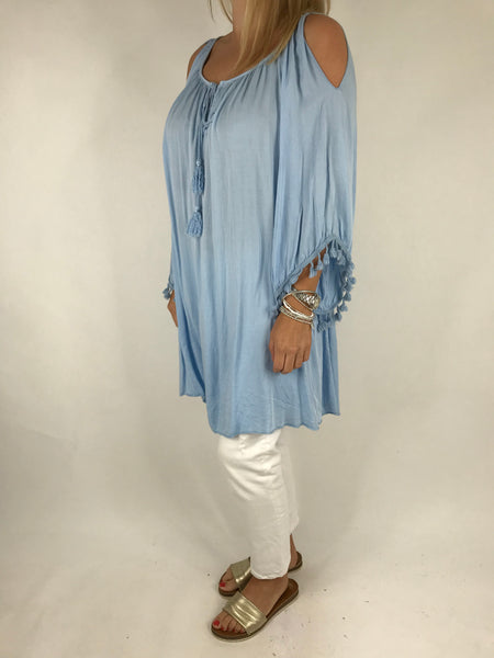Lagenlook Layla Summer Tassel Top in Sky. Code 5241