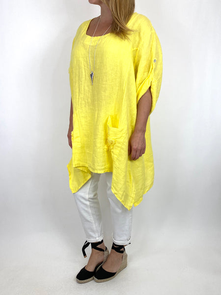 Lagenlook Ellen Swirl Flower Linen in Yellow code 008