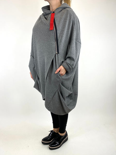 Lagenlook Terri Cocoon Jacket in Mid Grey. code 91168