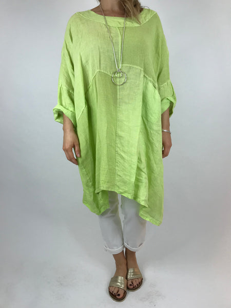 Lagenlook Mia Linen Top in Lime .code 5733