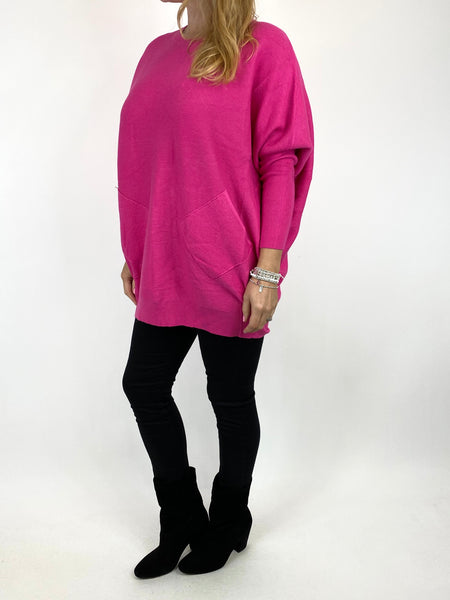 Lagenlook Piper Ribbed Plait Back Jumper in Fuchsia. code 2658 - Lagenlook Clothing UK