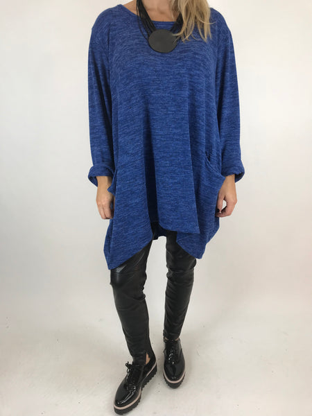 Lagenlook Made In Italy Alps Brushed Tunic in royal Blue. Code 7476 - Lagenlook Clothing UK