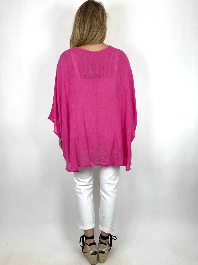 Lagenlook Miller Cotton Mix Wrap Top in Fuchsia. code 9100 - Lagenlook Clothing UK