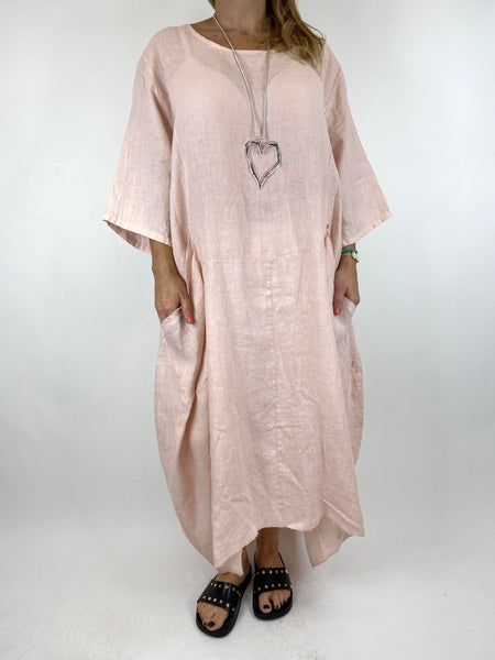 Lagenlook Upton Pocket Plain Linen Tunic in Pink. code 1809