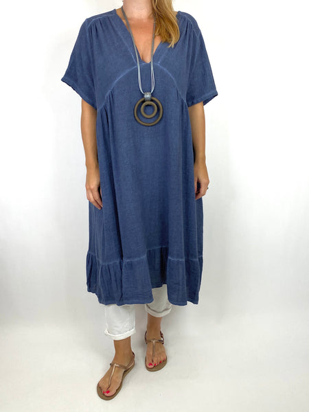 Lagenlook Horton Washed V-Neck top in Navy. code 10436