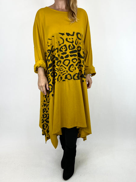 Lagenlook Chrissy Cheetah Panel Tunic in Mustard. code 10356 - Lagenlook Clothing UK