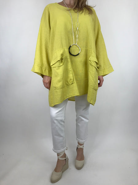 Lagenlook Michelle  Pocket Top in Yellow. code 91057