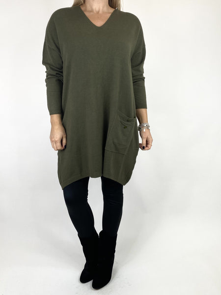 Lagenlook Jute Pocket V-neck Jumper in Khaki. code 2712