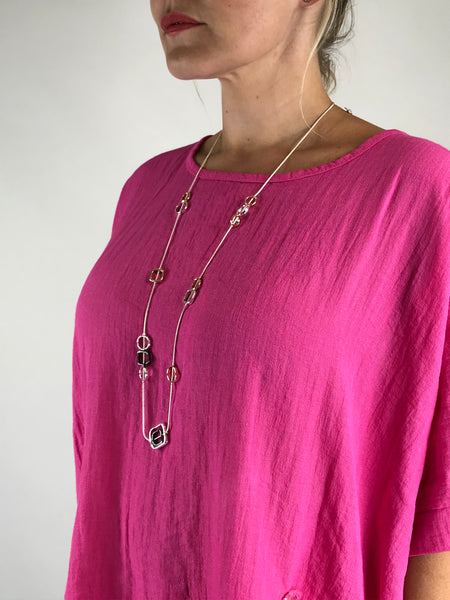 Lagenlook Square Fall Necklace in Rose gold. code N661rose