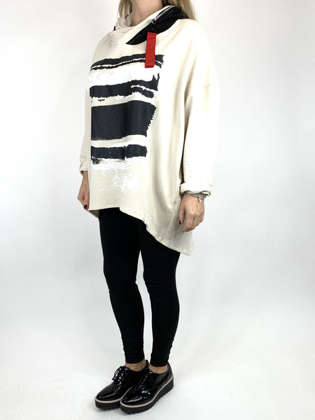 Lagenlook Stripe Paint Hood Top in Cream. code 91152 - Lagenlook Clothing UK