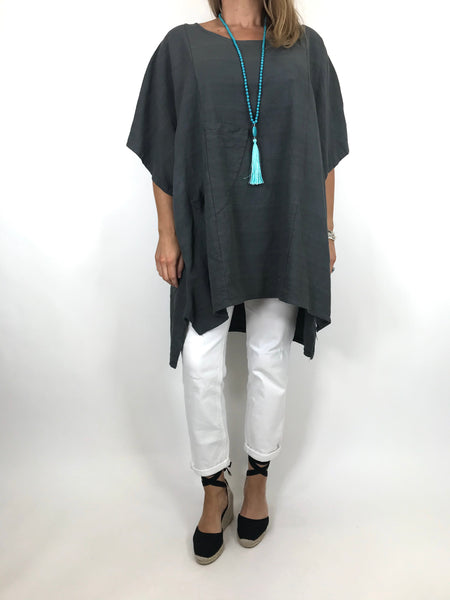 Lagenlook Chloe Pocket Front Top in Charcoal. code 6372