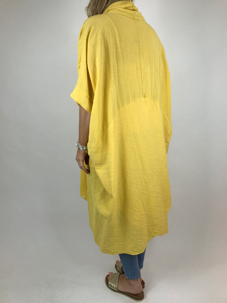 Lagenlook Cotton Wrap Dress Top in Yellow. code 4990