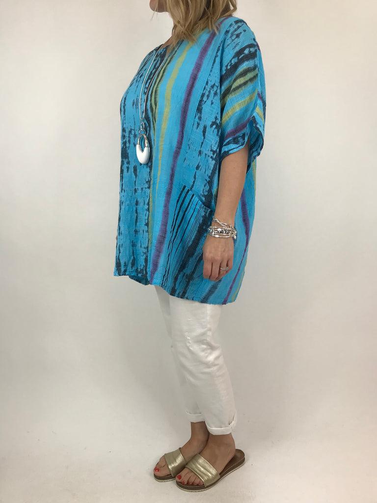 Lagenlook Tie-Dye Summer Top in Aqua Blue. code 11736