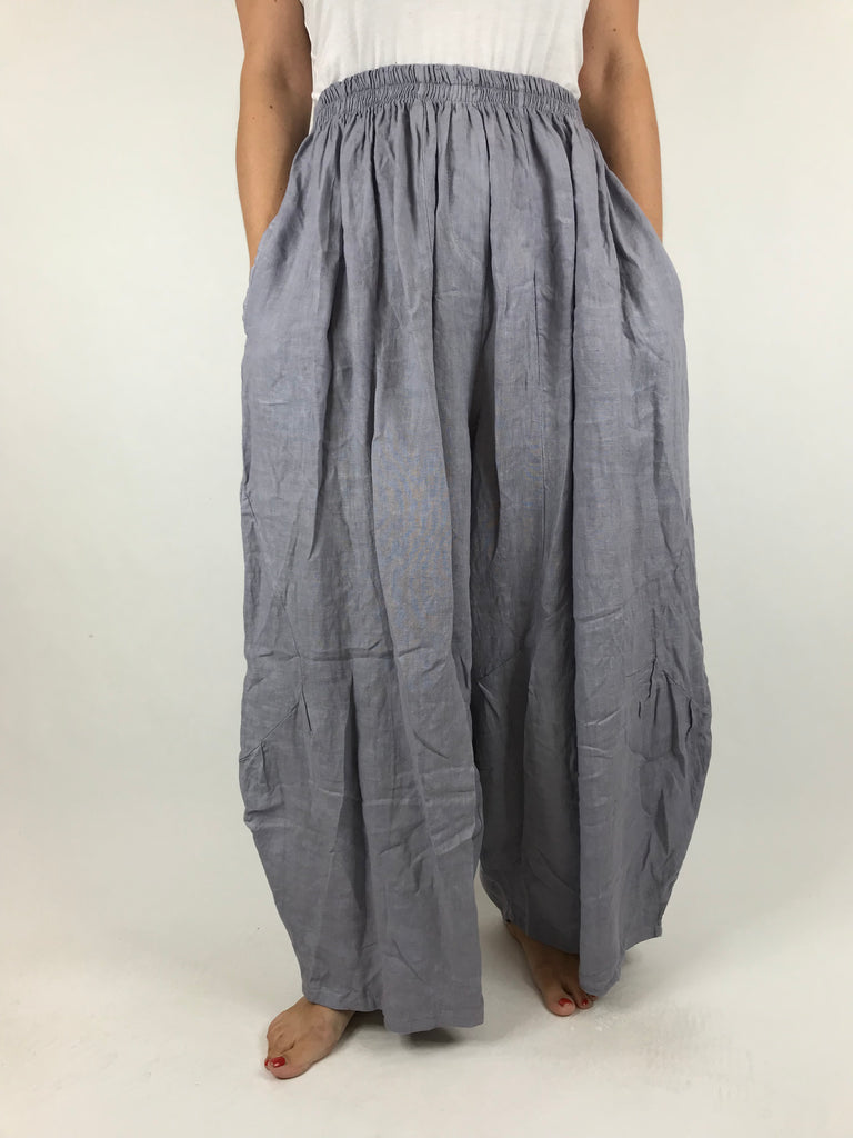 Lagenlook Penny wide Leg Linen Trousers in Grey .code 9030