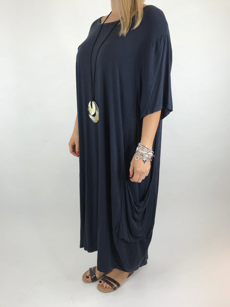 Lagenlook Shaped Jersey tunic in Navy. code 5668