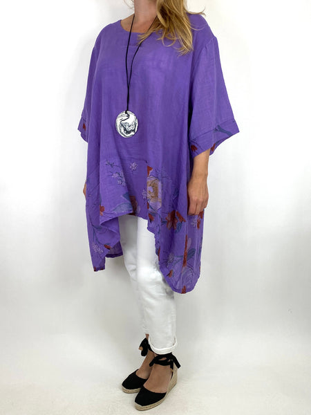 Lagenlook Sam Flower Hem Cotton Top in Purple.code 10017