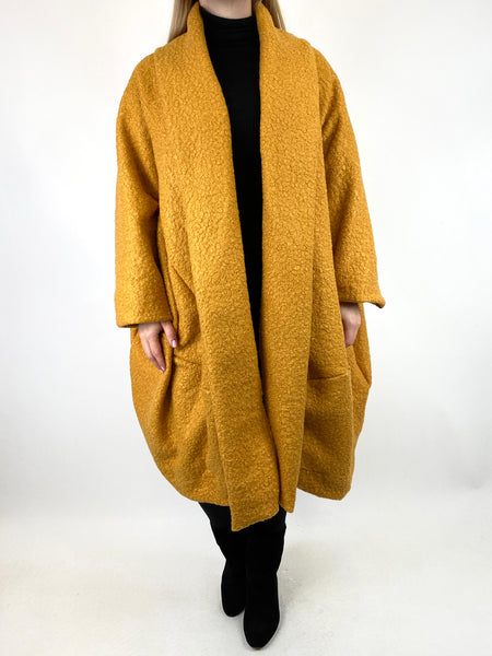 Lagenlook Bella Boucle Cocoon Coat in Mustard. code 66302 - Lagenlook Clothing UK