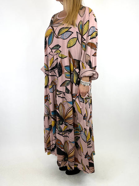Lagenlook Amy Winter Leaf Midi Tunic Pale Pink. code 9788 - Lagenlook Clothing UK