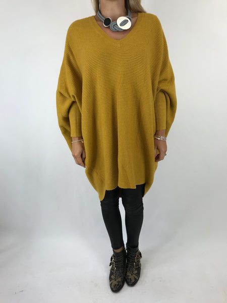 Lagenlook Bamford V-Neck Jumper in Mustard . code 5418