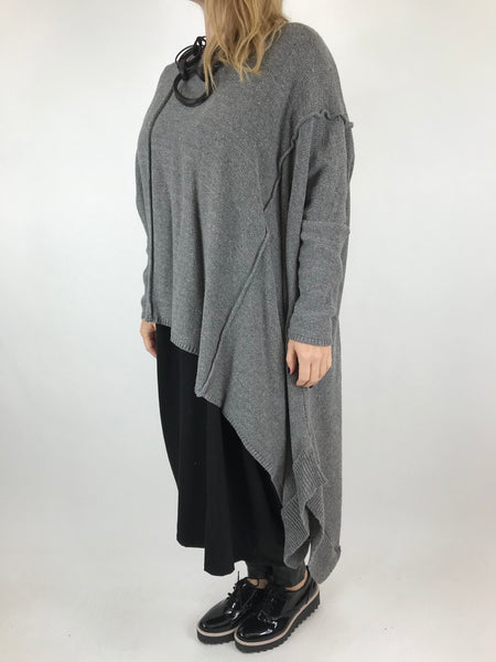 Lagenlook Collins Asymmetrical layering tank in Mid Grey . Code 1836