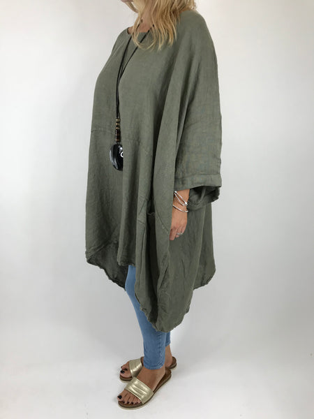 Lagenlook Linen Plain Poncho Top in Khaki. code 5699