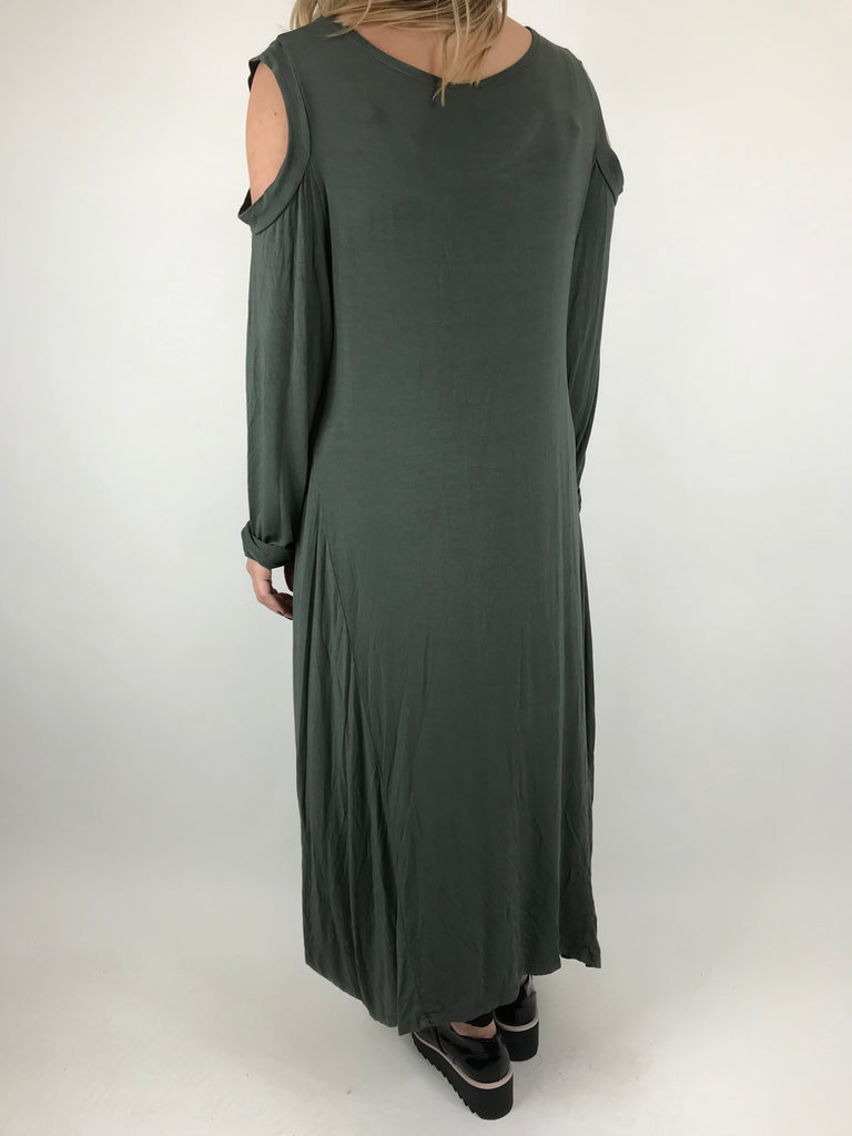 Lagenlook Alley Cold Shoulder Tunic in Khaki. code 1025
