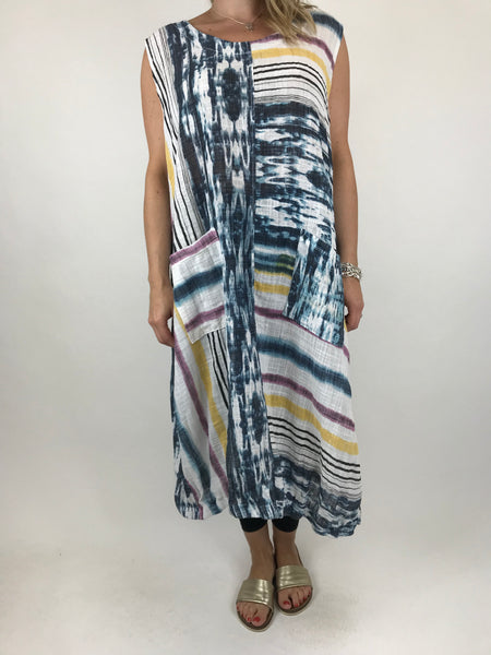 Lagenlook New Age Tie Dye tunic in White. code 90947
