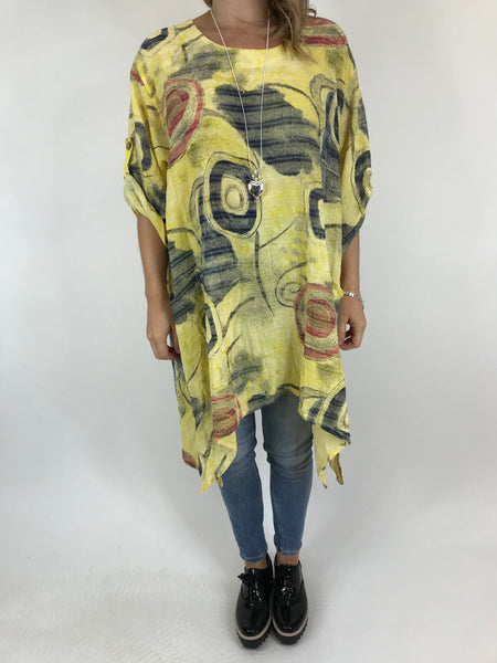 Lagenlook Billie Cotton pattern Top in Yellow. code 90871