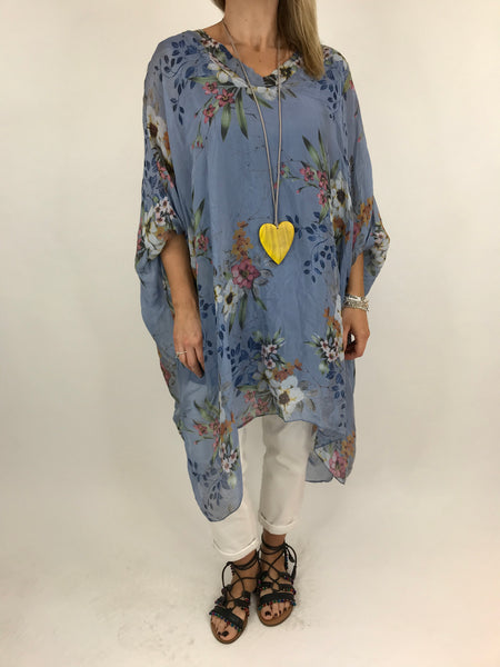 Lagenlook Silk V- Neck Flower Poncho Top in Denim. code 2769