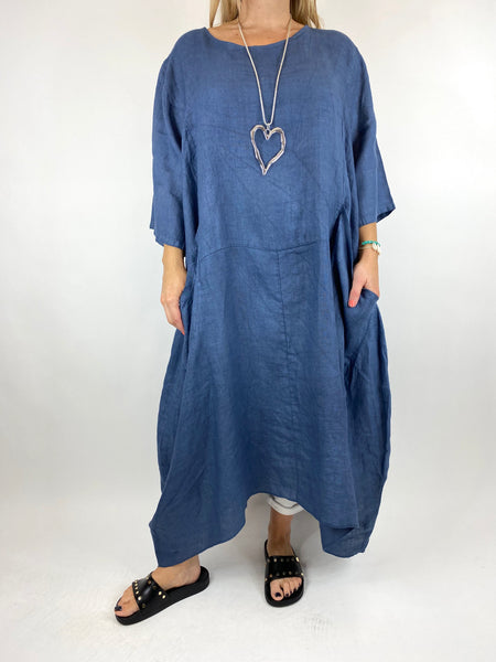 Lagenlook Upton Pocket Plain Linen Tunic in Denim. code 1809