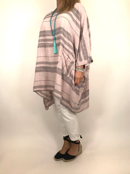 Lagenlook Maggie Stripe top in Pale pink. code 8365