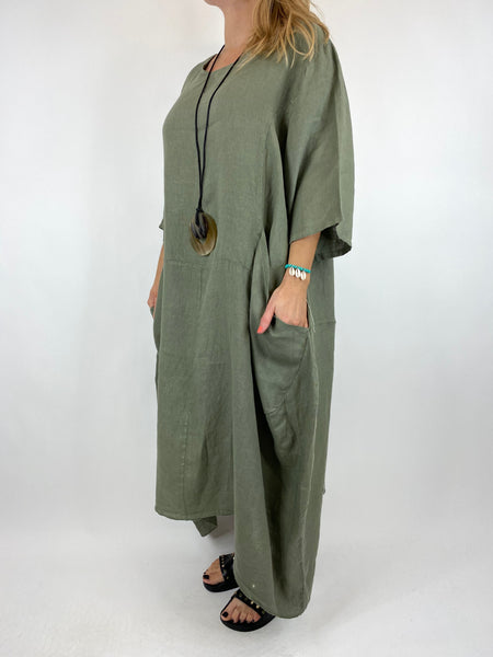 Lagenlook Upton Pocket Plain Linen Tunic in Khaki. code 1809
