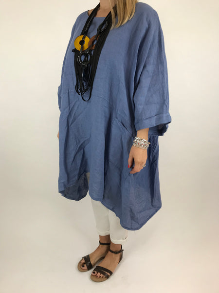 Lagenlook Linen Plain Poncho Top in Denim. code 5699