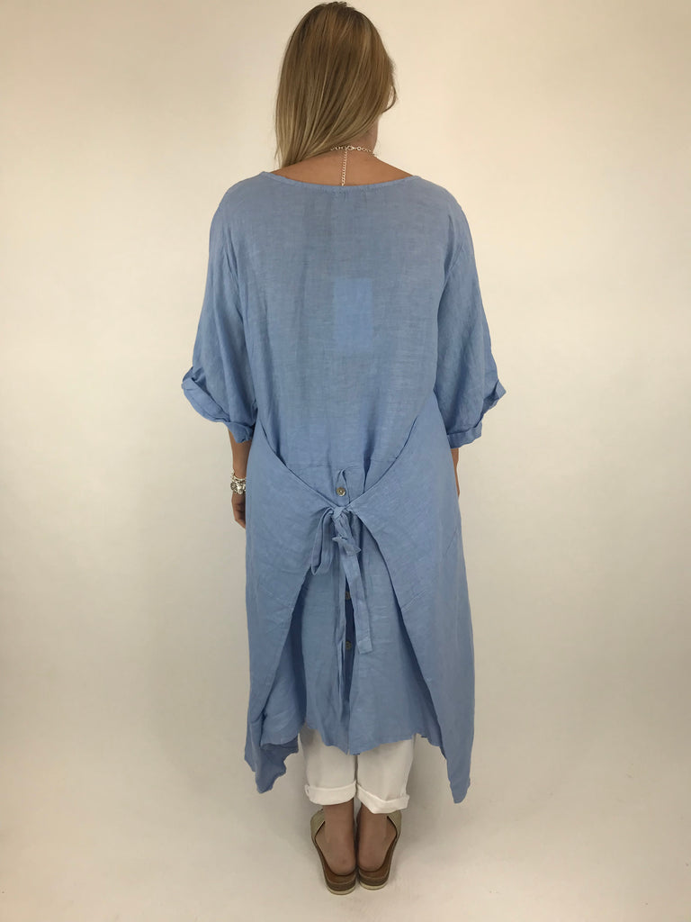 Lagenlook Misha Linen Tie back Tunic in Denim. code 20511