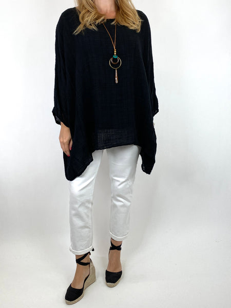 Lagenlook Nina necklace top Regular size in Black. code 9066