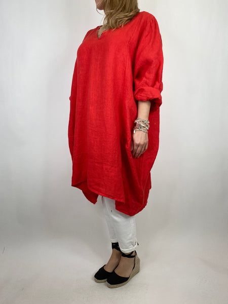 Lagenlook Mykonos V-neck Premium Linen Top in Red . code 88176