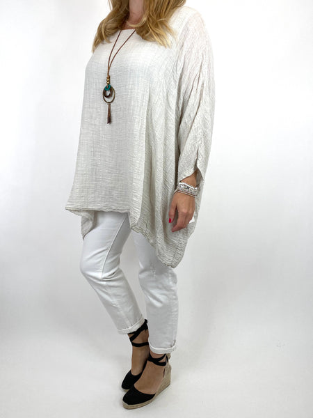 Lagenlook Nina necklace top Regular size in Cream. code 9066