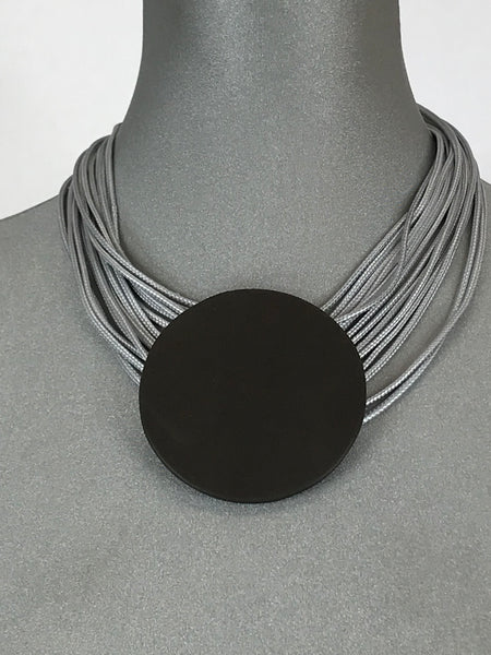 Lagenlook Leather Disc Short Necklace in Pale Grey. Code L10