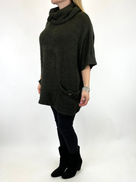 Lagenlook Tilly Button Pocket Cowl Top in Khaki. code 7553 - Lagenlook Clothing UK