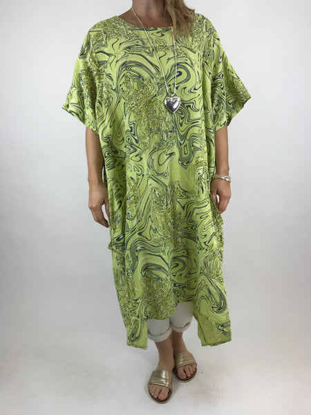 85ff35b04b9 Lagenlook Shaped Swirl Tunic in Lime. code 5517 ...