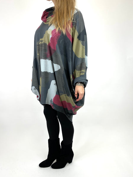 Lagenlook Cowl Neck Paint Splash Print Top in Charcoal. code 9810