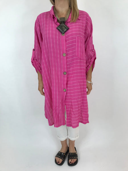 Lagenlook Dele Cotton Shirt in Fushcia Pink . Code 90873