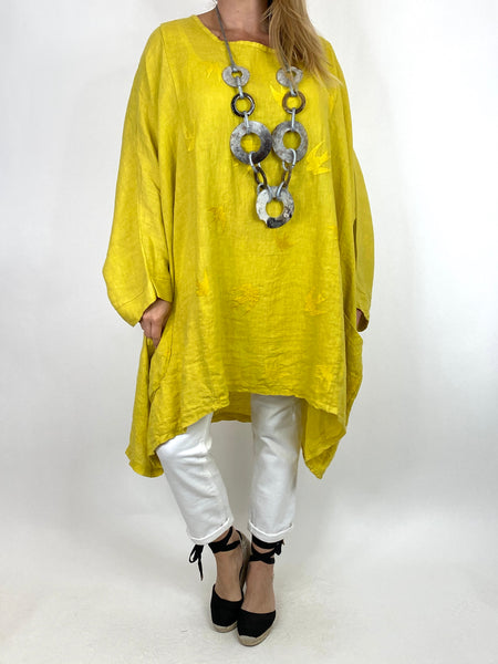 Lagenlook Bird Linen Poncho Top in Yellow. code 2137
