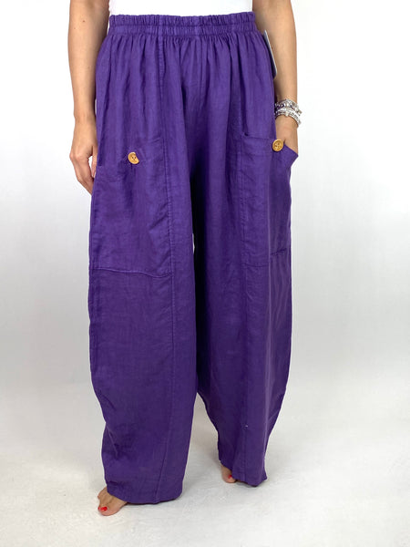Lagenlook Eliza Wide leg Linen Trousers in Purple. code 6503