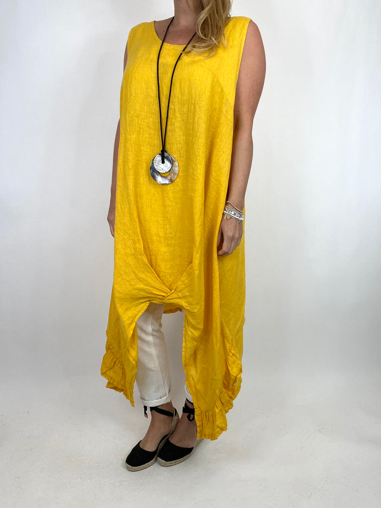 Lagenlook Linen Ruffle hem Vest in Yellow. code 91078 - Lagenlook Clothing UK