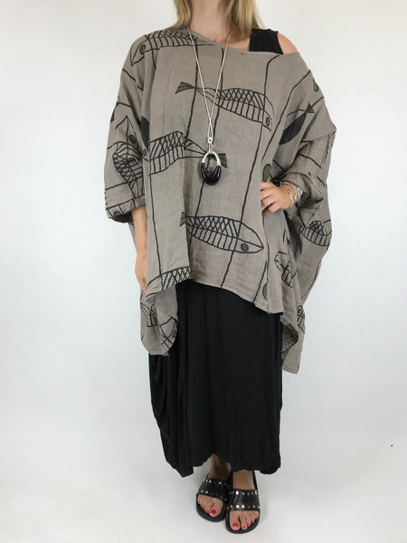 Lagenlook Linen Quirky Print Poncho Top in Mocha. Code 18057