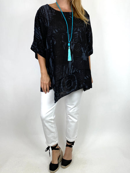 Lagenlook Tye-dye Top in Black Regular Size. code 6688